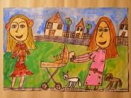 1. místo - 1. kategorie, ze souboru prací ZUŠ Sokolov Eliška Zajacová, 7 let, Mít rodinu